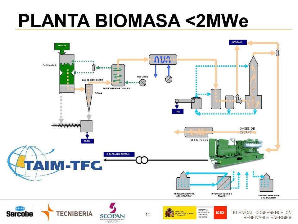 TECHNICAL CONFERENCE ON RENEWABLE ENERGIES 12 PLANTA BIOMASA <2MWe