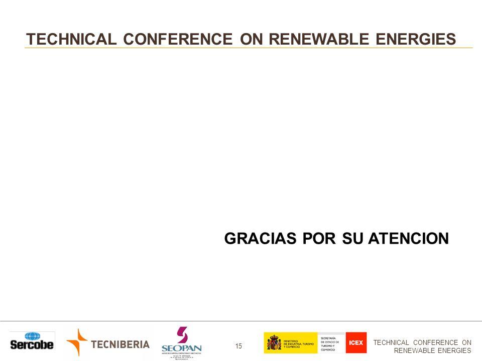 TECHNICAL CONFERENCE ON RENEWABLE ENERGIES 15 TECHNICAL CONFERENCE ON RENEWABLE ENERGIES GRACIAS POR SU ATENCION