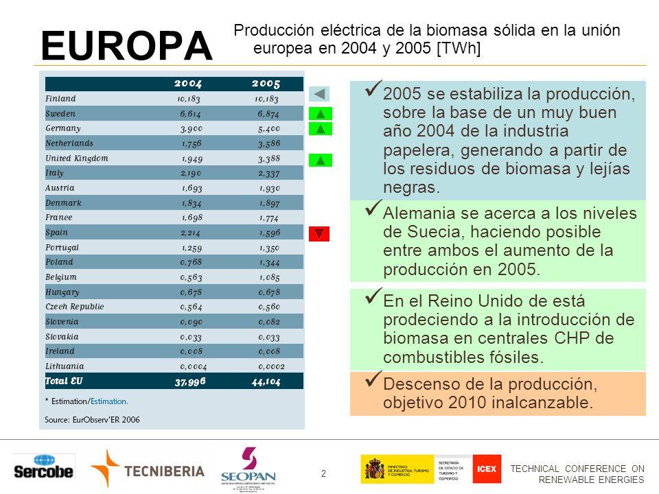 TECHNICAL CONFERENCE ON RENEWABLE ENERGIES 2 EUROPA 2005 se estabiliza la producción, sobre la base de un muy buen año 2004 de la industria papelera, generando a partir de los residuos de biomasa y lejías negras.