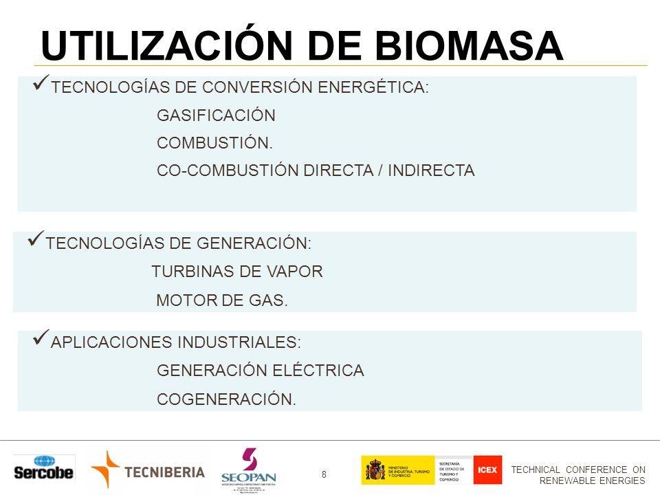 TECHNICAL CONFERENCE ON RENEWABLE ENERGIES 8 UTILIZACIÓN DE BIOMASA TECNOLOGÍAS DE CONVERSIÓN ENERGÉTICA: GASIFICACIÓN COMBUSTIÓN.