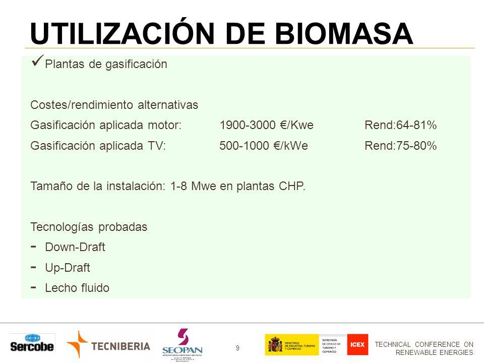 TECHNICAL CONFERENCE ON RENEWABLE ENERGIES 9 UTILIZACIÓN DE BIOMASA Plantas de gasificación Costes/rendimiento alternativas Gasificación aplicada motor:1900-3000 /KweRend:64-81% Gasificación aplicada TV:500-1000 /kWeRend:75-80% Tamaño de la instalación: 1-8 Mwe en plantas CHP.