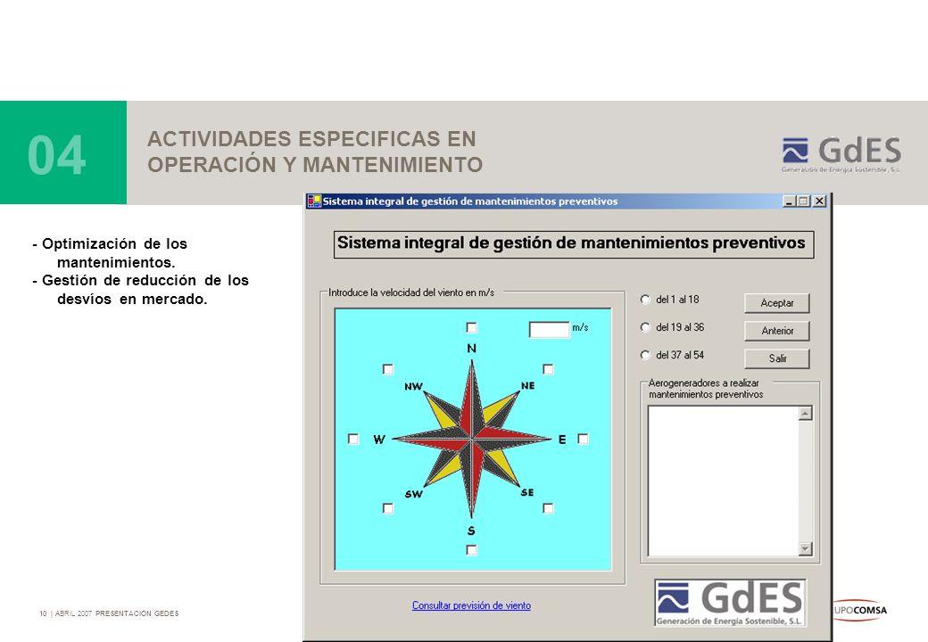 10   ABRIL 2007 PRESENTACIÓN GEDES ACTIVIDADES ESPECIFICAS EN OPERACIÓN Y MANTENIMIENTO 04 - Optimización de los mantenimientos. - Gestión de reducció