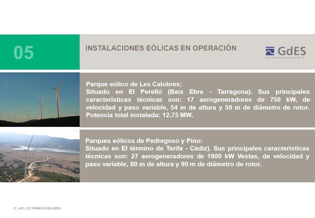 17   ABRIL 2007 PRESENTACIÓN GEDES Parque eólico de Les Calobres: Situado en El Perelló (Baix Ebre - Tarragona). Sus principales características técni