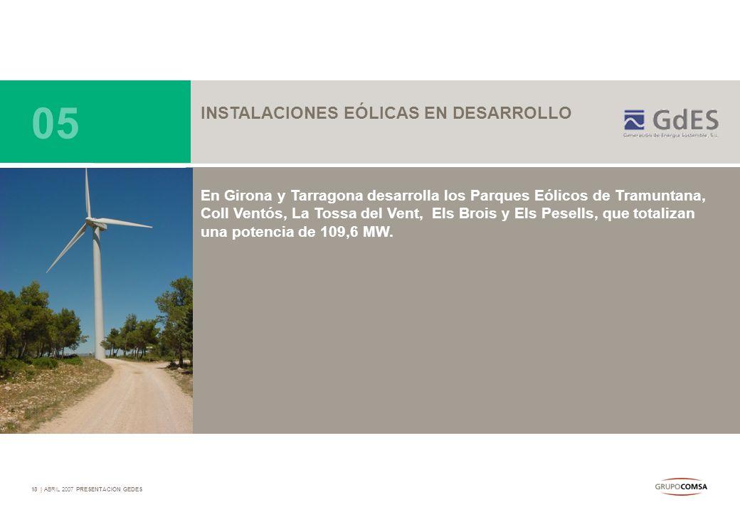 18   ABRIL 2007 PRESENTACIÓN GEDES INSTALACIONES EÓLICAS EN DESARROLLO En Girona y Tarragona desarrolla los Parques Eólicos de Tramuntana, Coll Ventós