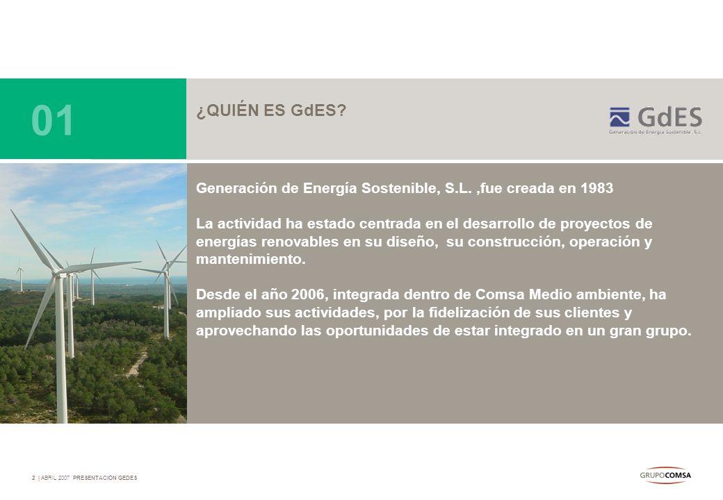 2   ABRIL 2007 PRESENTACIÓN GEDES ¿QUIÉN ES GdES? Generación de Energía Sostenible, S.L.,fue creada en 1983 La actividad ha estado centrada en el desa