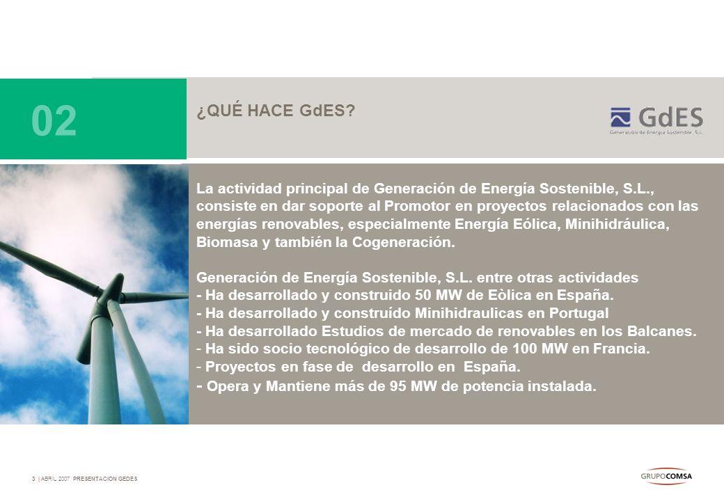 3   ABRIL 2007 PRESENTACIÓN GEDES ¿QUÉ HACE GdES? La actividad principal de Generación de Energía Sostenible, S.L., consiste en dar soporte al Promoto