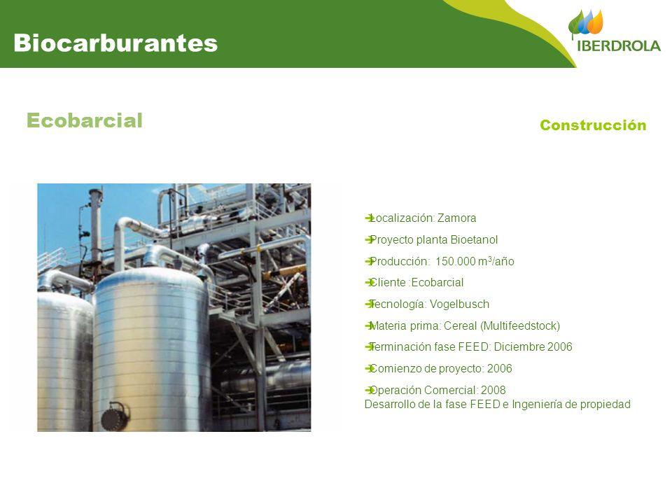 Localización: Zamora Proyecto planta Bioetanol Producción: 150.000 m 3 /año Cliente :Ecobarcial Tecnología: Vogelbusch Materia prima: Cereal (Multifee