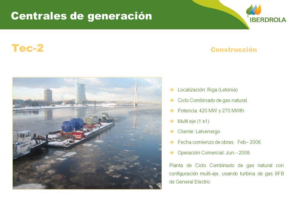 Tec-2 Localización: Riga (Letonia) Ciclo Combinado de gas natural. Potencia: 420 MW y 270 MWth Multi eje (1 x1) Cliente: Latvenergo Fecha comienzo de