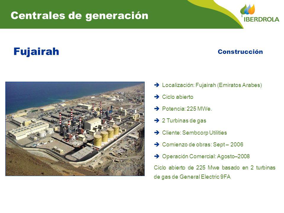 Fujairah Localización: Fujairah (Emiratos Arabes) Ciclo abierto Potencia: 225 MWe. 2 Turbinas de gas Cliente: Sembcorp Utilities Comienzo de obras: Se