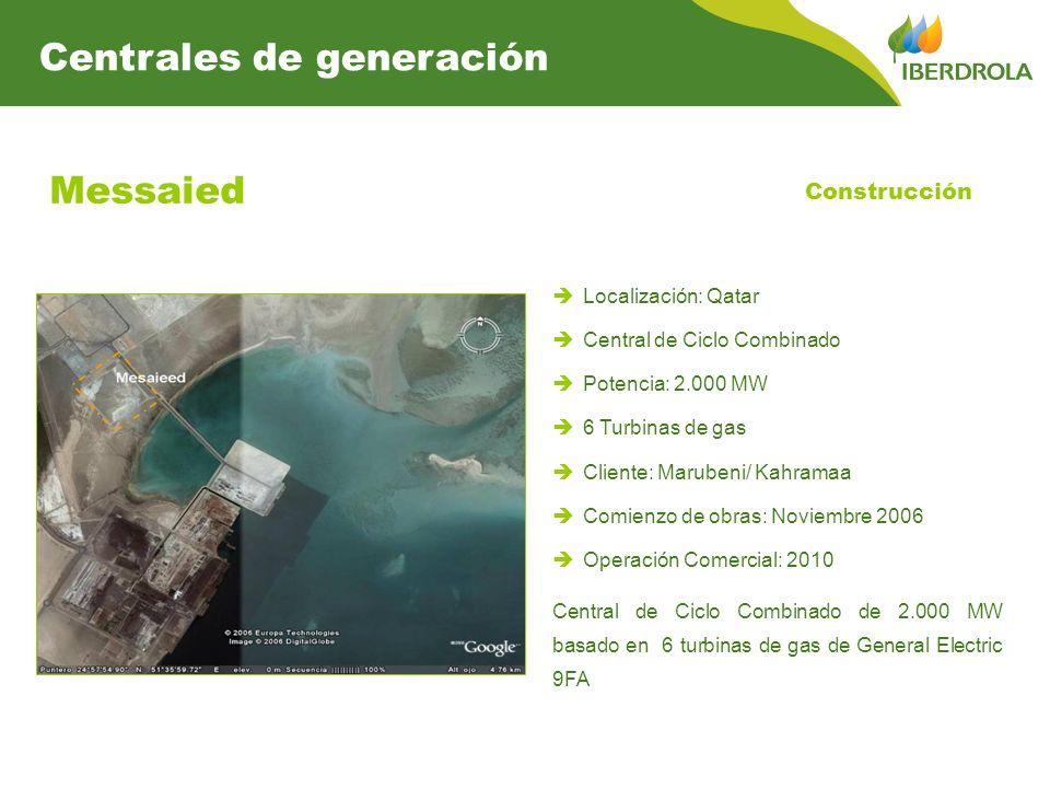 Messaied Localización: Qatar Central de Ciclo Combinado Potencia: 2.000 MW 6 Turbinas de gas Cliente: Marubeni/ Kahramaa Comienzo de obras: Noviembre 2006 Operación Comercial: 2010 Central de Ciclo Combinado de 2.000 MW basado en 6 turbinas de gas de General Electric 9FA Construcción Centrales de generación