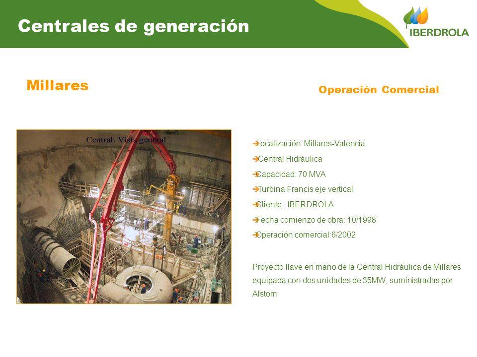Millares Operación Comercial Localización: Millares-Valencia Central Hidráulica Capacidad: 70 MVA Turbina Francis eje vertical Cliente : IBERDROLA Fec