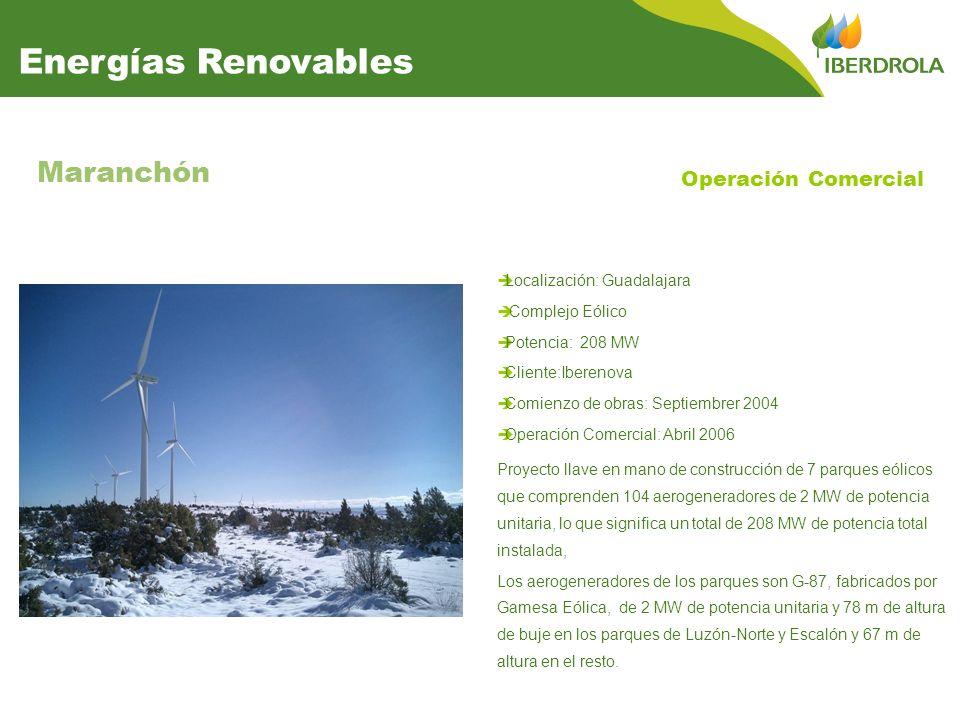Localización: Guadalajara Complejo Eólico Potencia: 208 MW Cliente:Iberenova Comienzo de obras: Septiembrer 2004 Operación Comercial: Abril 2006 Maranchón Proyecto llave en mano de construcción de 7 parques eólicos que comprenden 104 aerogeneradores de 2 MW de potencia unitaria, lo que significa un total de 208 MW de potencia total instalada, Los aerogeneradores de los parques son G-87, fabricados por Gamesa Eólica, de 2 MW de potencia unitaria y 78 m de altura de buje en los parques de Luzón-Norte y Escalón y 67 m de altura en el resto.