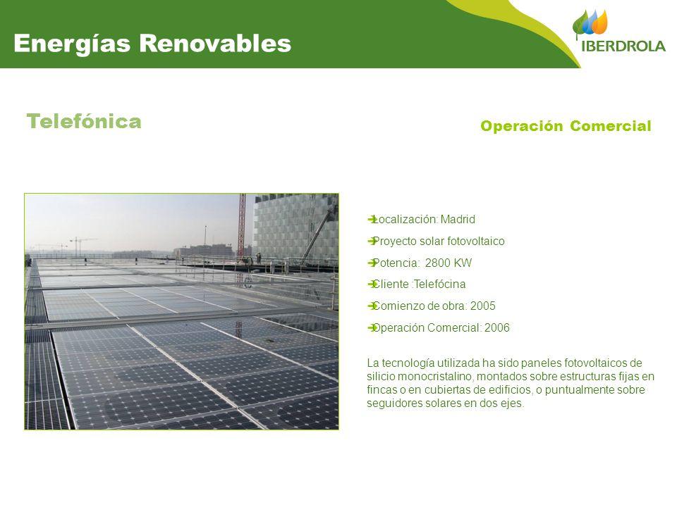 Localización: Madrid Proyecto solar fotovoltaico Potencia: 2800 KW Cliente :Telefócina Comienzo de obra: 2005 Operación Comercial: 2006 Telefónica La