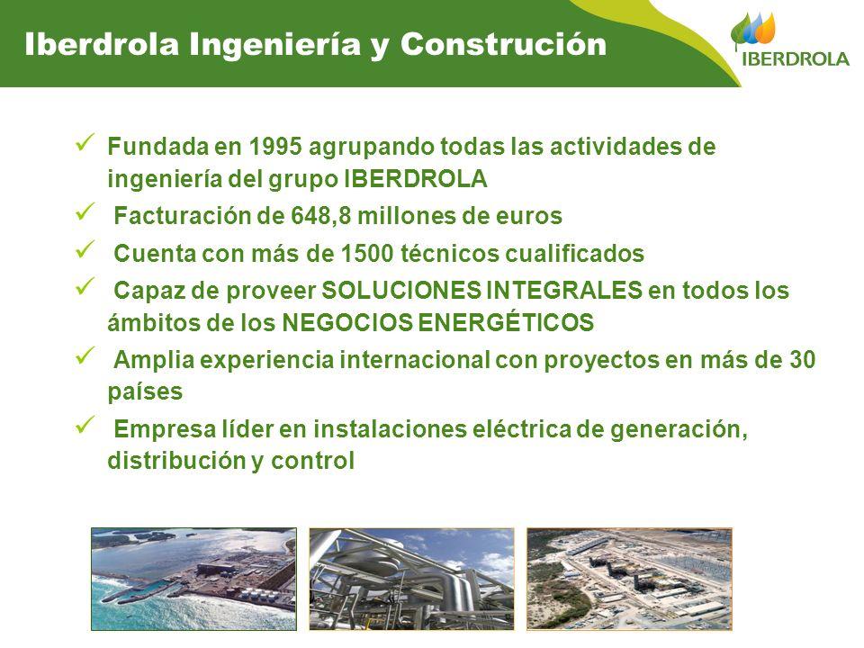 Fundada en 1995 agrupando todas las actividades de ingeniería del grupo IBERDROLA Facturación de 648,8 millones de euros Cuenta con más de 1500 técnicos cualificados Capaz de proveer SOLUCIONES INTEGRALES en todos los ámbitos de los NEGOCIOS ENERGÉTICOS Amplia experiencia internacional con proyectos en más de 30 países Empresa líder en instalaciones eléctrica de generación, distribución y control Iberdrola Ingeniería y Construción