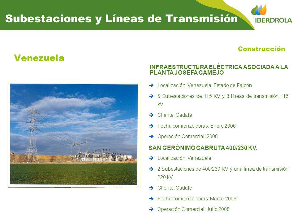 Venezuela Construcción Subestaciones y Líneas de Transmisión INFRAESTRUCTURA ELÉCTRICA ASOCIADA A LA PLANTA JOSEFA CAMEJO Localización: Venezuela, Est