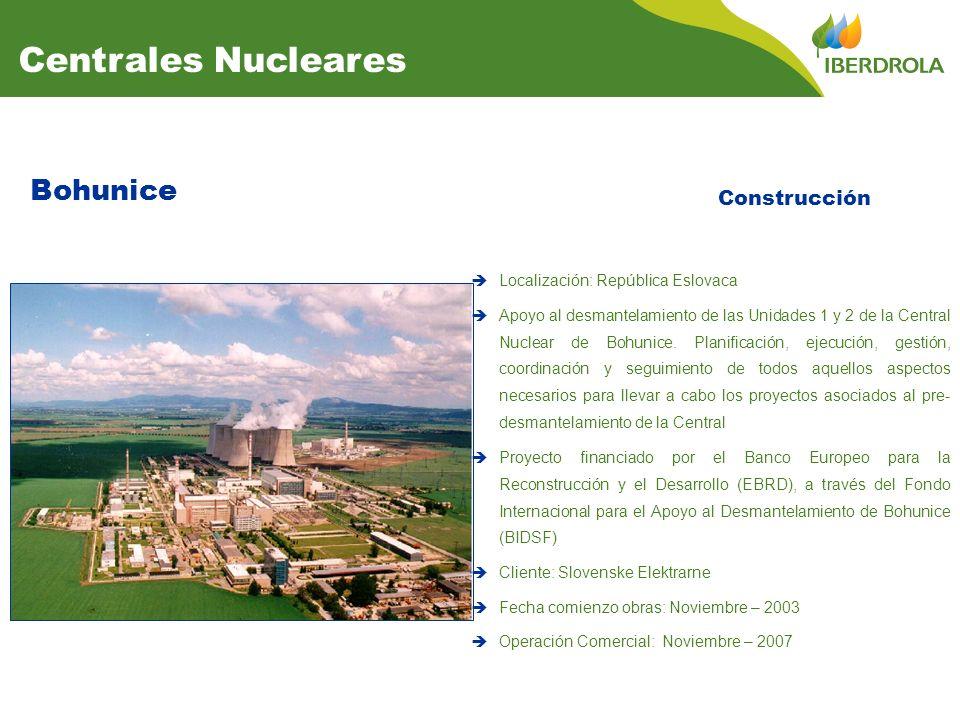 Bohunice Construcción Centrales Nucleares Localización: República Eslovaca Apoyo al desmantelamiento de las Unidades 1 y 2 de la Central Nuclear de Bohunice.
