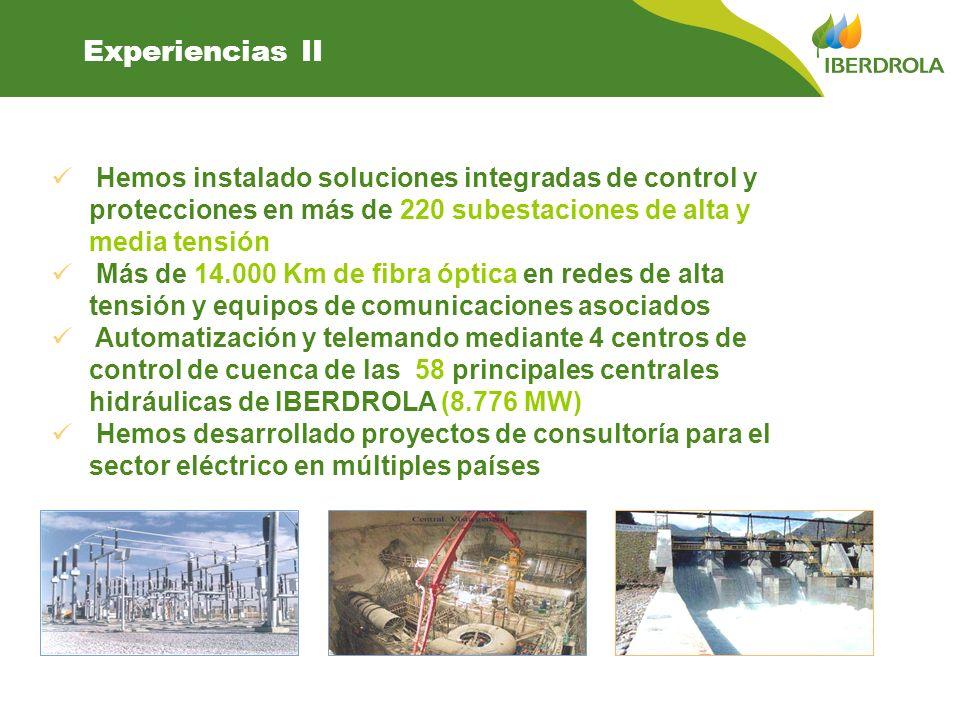 Experiencias II Hemos instalado soluciones integradas de control y protecciones en más de 220 subestaciones de alta y media tensión Más de 14.000 Km d