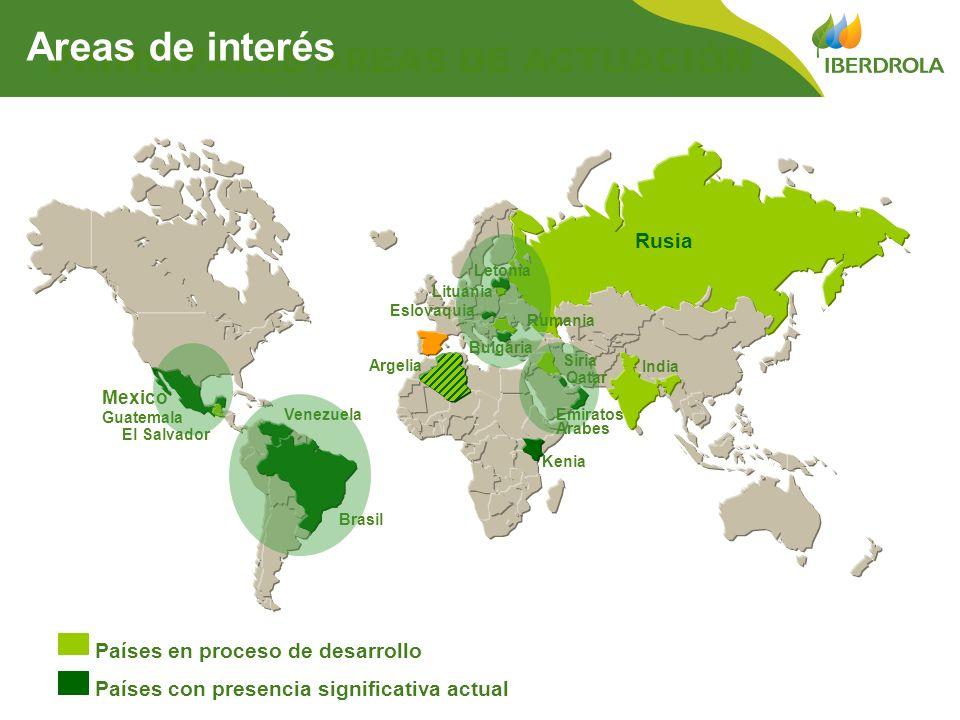 PRINCIPALES ÁREAS DE ACTUACIÓN Países con presencia significativa actual Países en proceso de desarrollo Areas de interés