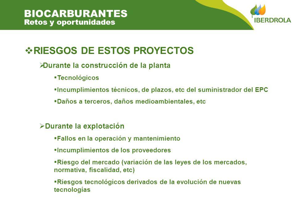 RIESGOS DE ESTOS PROYECTOS Durante la construcción de la planta Tecnológicos Incumplimientos técnicos, de plazos, etc del suministrador del EPC Daños