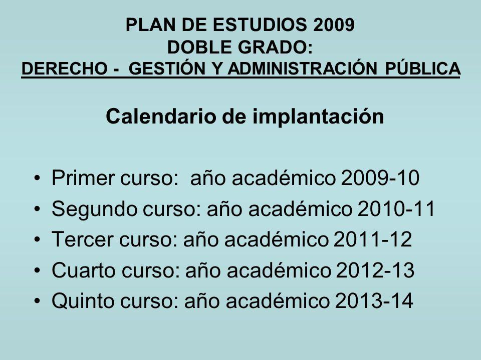 PLAN DE ESTUDIOS 2009 DOBLE GRADO: DERECHO - GESTIÓN Y ADMINISTRACIÓN PÚBLICA Calendario de implantación Primer curso: año académico 2009-10 Segundo c