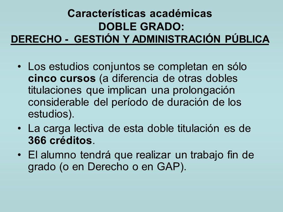 Características académicas DOBLE GRADO: DERECHO - GESTIÓN Y ADMINISTRACIÓN PÚBLICA Los estudios conjuntos se completan en sólo cinco cursos (a diferen