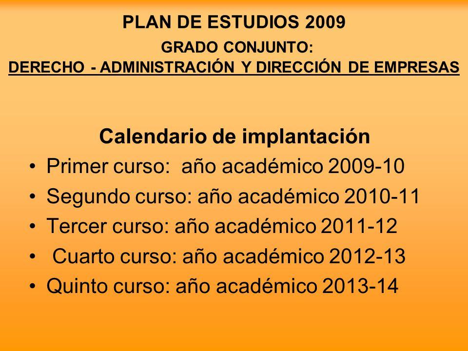 PLAN DE ESTUDIOS 2009 GRADO CONJUNTO: DERECHO - ADMINISTRACIÓN Y DIRECCIÓN DE EMPRESAS Calendario de implantación Primer curso: año académico 2009-10