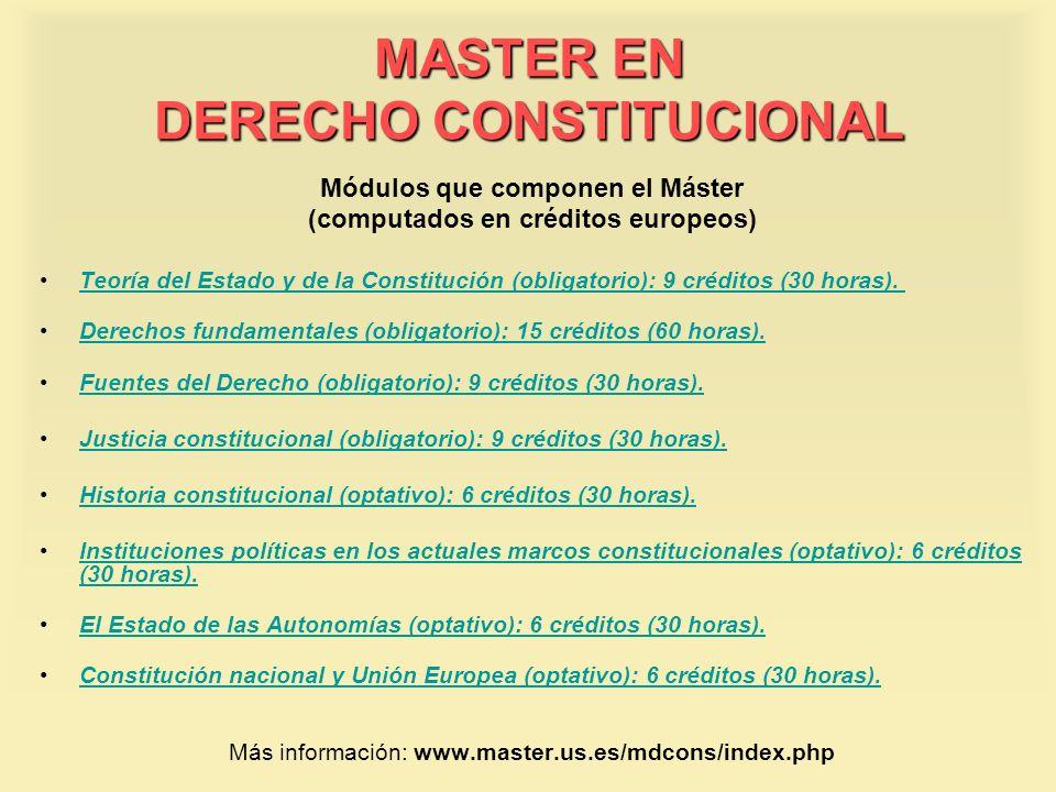 MASTER EN DERECHO CONSTITUCIONAL Módulos que componen el Máster (computados en créditos europeos) Teoría del Estado y de la Constitución (obligatorio)