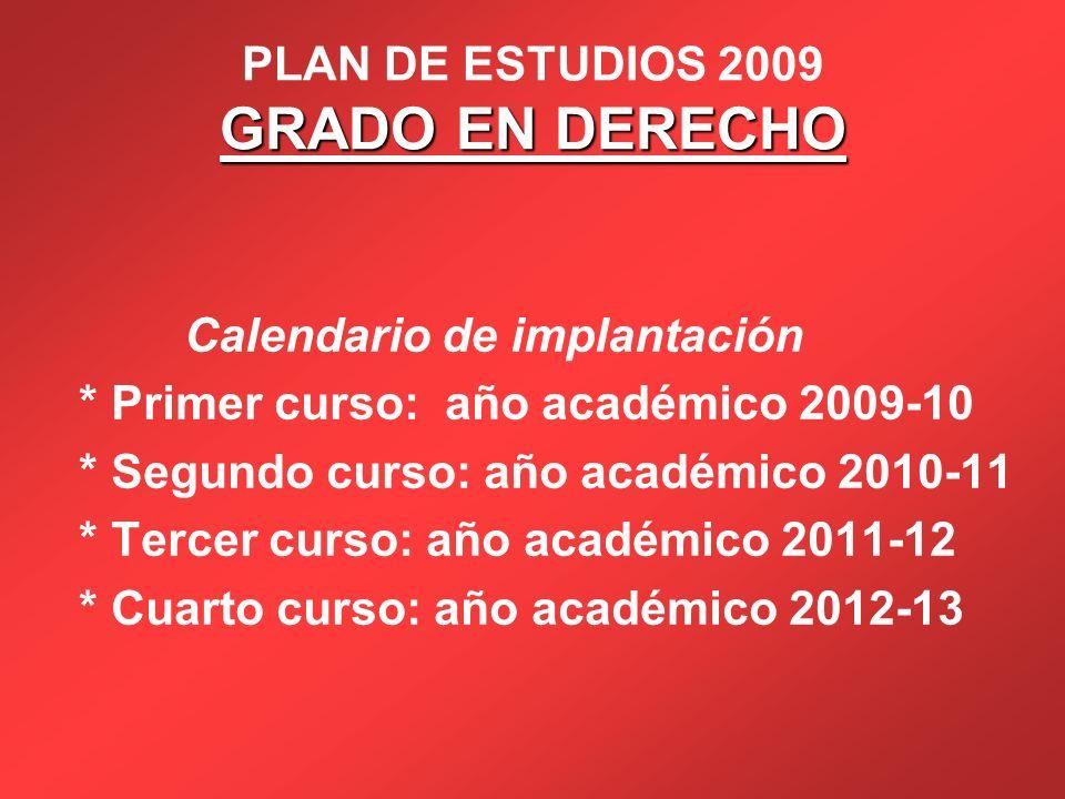GRADO EN DERECHO PLAN DE ESTUDIOS 2009 GRADO EN DERECHO Calendario de implantación * Primer curso: año académico 2009-10 * Segundo curso: año académic