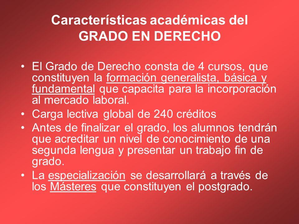 Características académicas del GRADO EN DERECHO El Grado de Derecho consta de 4 cursos, que constituyen la formación generalista, básica y fundamental