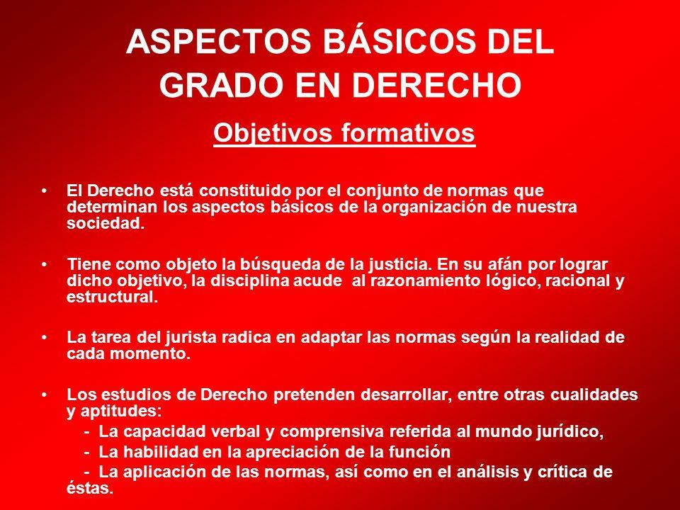 ASPECTOS BÁSICOS DEL GRADO EN DERECHO Objetivos formativos El Derecho está constituido por el conjunto de normas que determinan los aspectos básicos d
