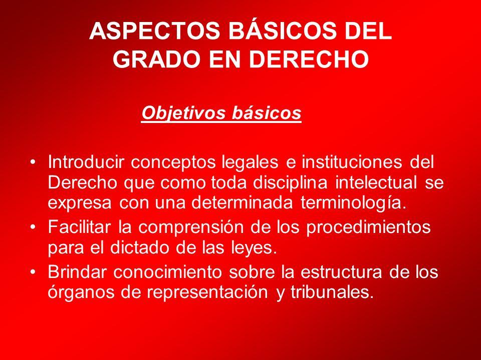 ASPECTOS BÁSICOS DEL GRADO EN DERECHO Objetivos básicos Introducir conceptos legales e instituciones del Derecho que como toda disciplina intelectual
