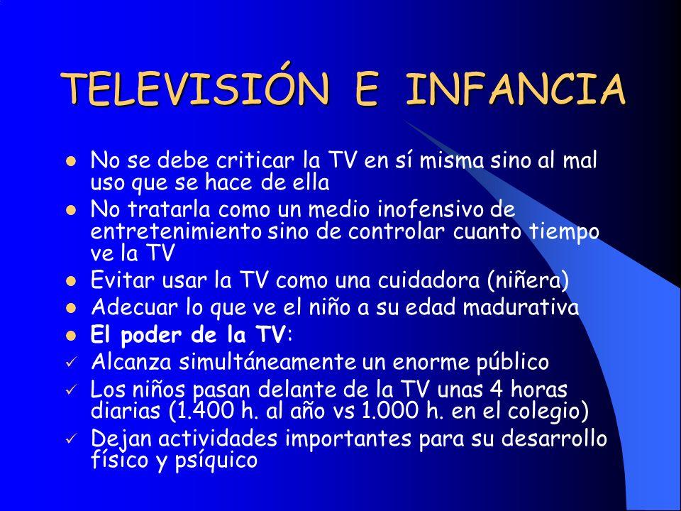 TELEVISIÓN E INFANCIA No se debe criticar la TV en sí misma sino al mal uso que se hace de ella No tratarla como un medio inofensivo de entretenimient