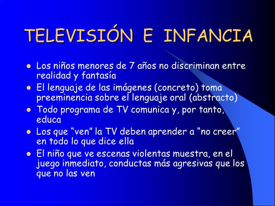 TELEVISIÓN E INFANCIA Los niños menores de 7 años no discriminan entre realidad y fantasía El lenguaje de las imágenes (concreto) toma preeminencia so