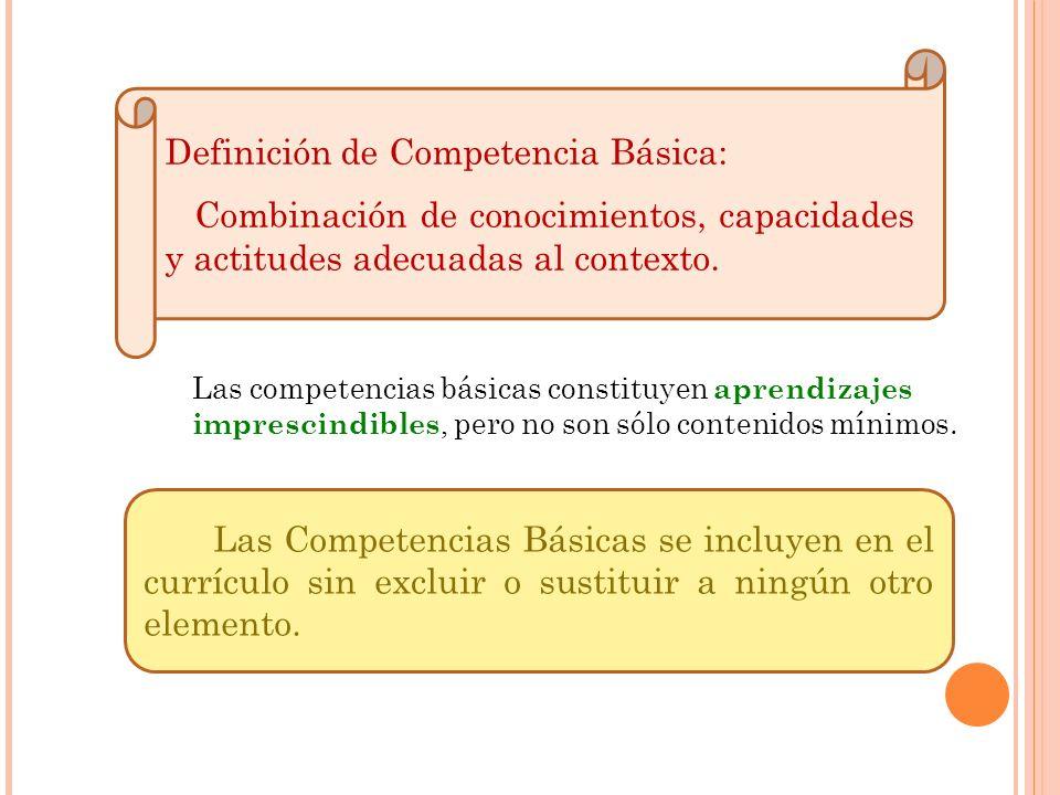 Definición de Competencia Básica: Combinación de conocimientos, capacidades y actitudes adecuadas al contexto. Las Competencias Básicas se incluyen en