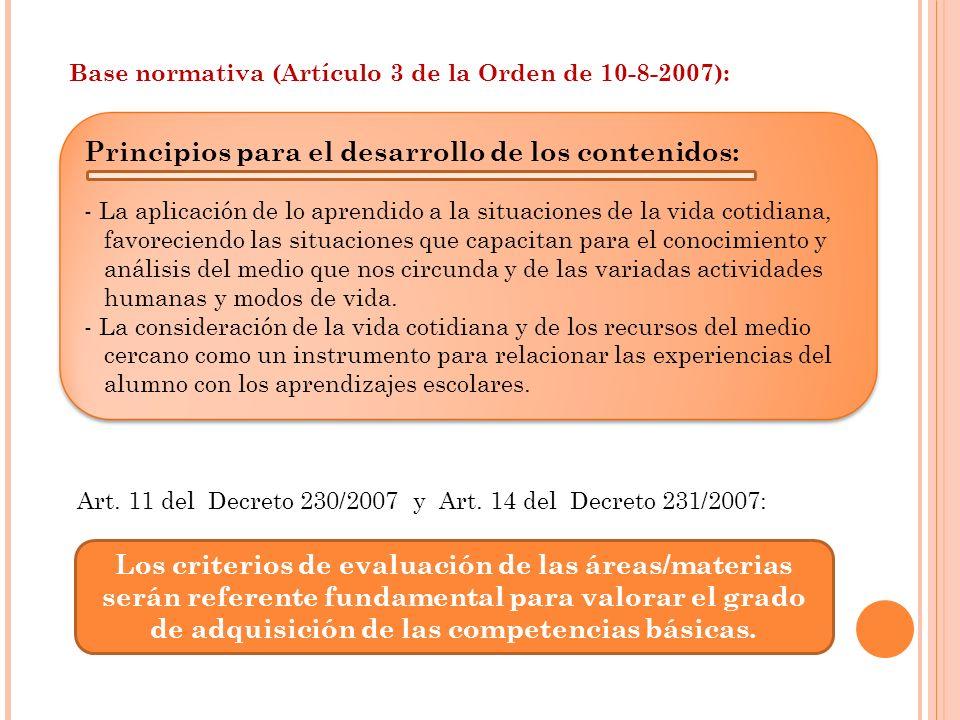 Base normativa (Artículo 3 de la Orden de 10-8-2007): Principios para el desarrollo de los contenidos: - La aplicación de lo aprendido a la situacione
