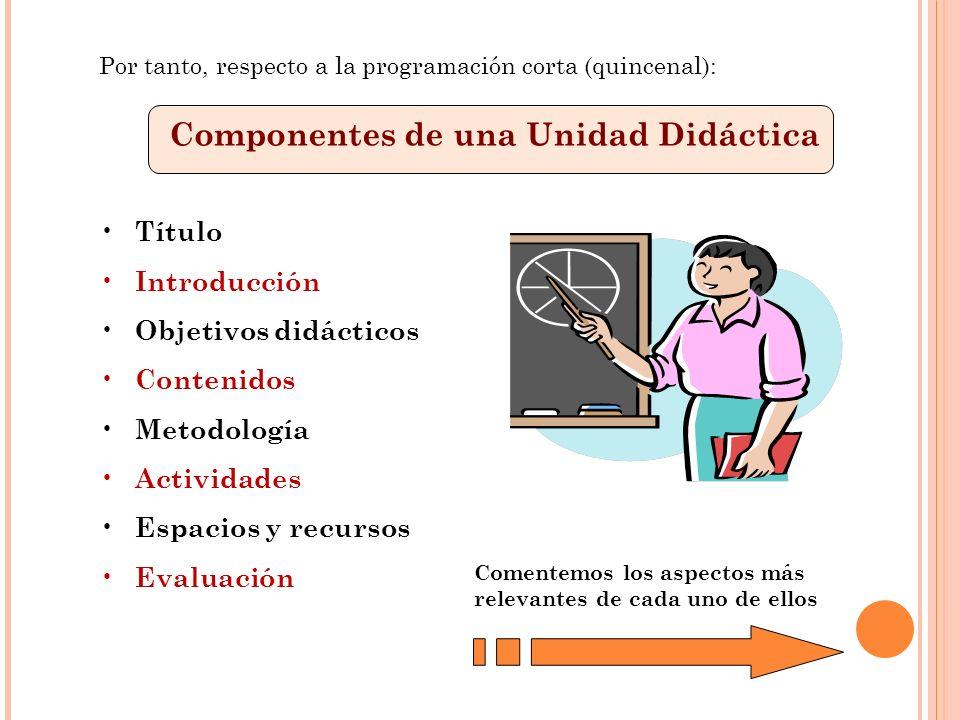 Componentes de una Unidad Didáctica Título Introducción Objetivos didácticos Contenidos Metodología Actividades Espacios y recursos Evaluación Comente