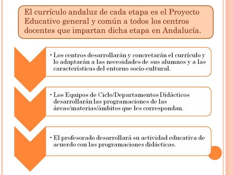 El currículo andaluz de cada etapa es el Proyecto Educativo general y común a todos los centros docentes que impartan dicha etapa en Andalucía.