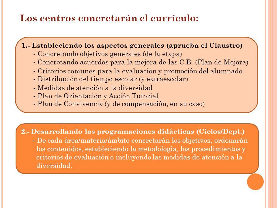 Los centros concretarán el currículo: 1.- Estableciendo los aspectos generales (aprueba el Claustro) - Concretando objetivos generales (de la etapa) - Concretando acuerdos para la mejora de las C.B.