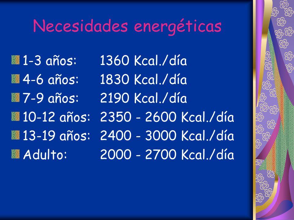 Necesidades energéticas 1-3 años:1360 Kcal./día 4-6 años:1830 Kcal./día 7-9 años:2190 Kcal./día 10-12 años:2350 - 2600 Kcal./día 13-19 años:2400 - 3000 Kcal./día Adulto:2000 - 2700 Kcal./día