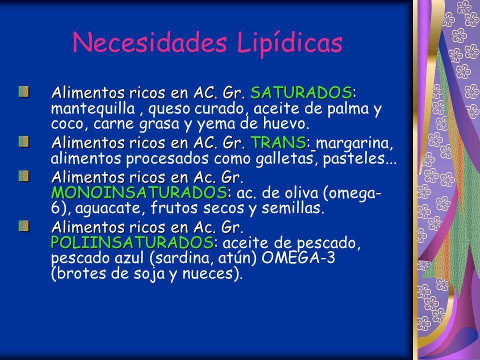 Necesidades Lipídicas Gasas saturadas, monoinsaturadas y poliinsaturada: 10:10:10 % Mantequilla cruda (Vit. A) Grasas en los alimentos (saturadas): A.