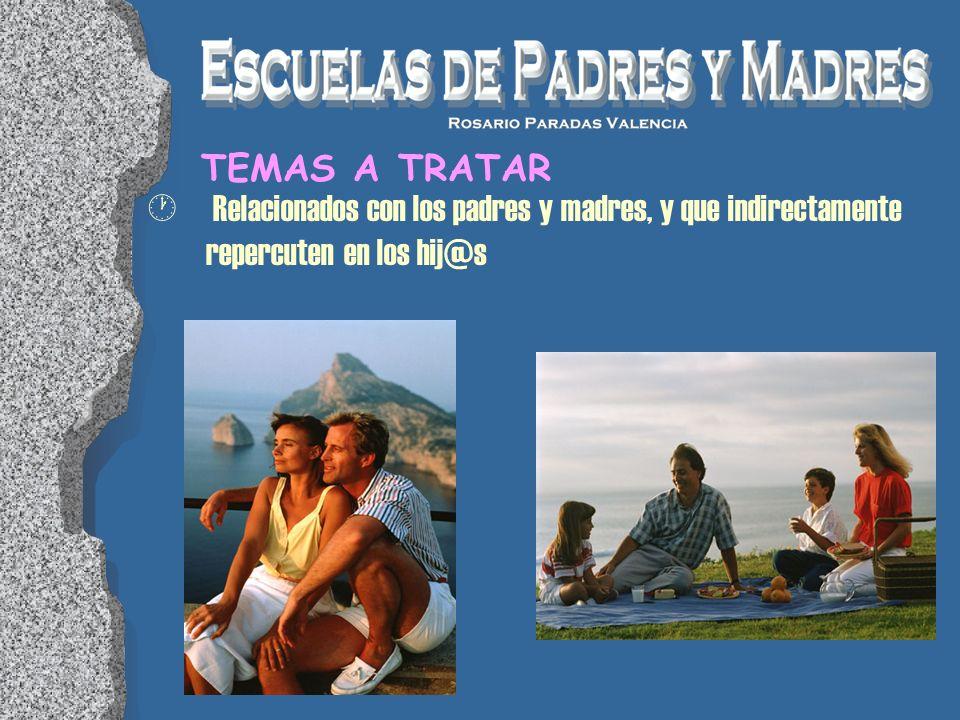 · Relacionados con los padres y madres, y que indirectamente repercuten en los hij@s TEMAS A TRATAR