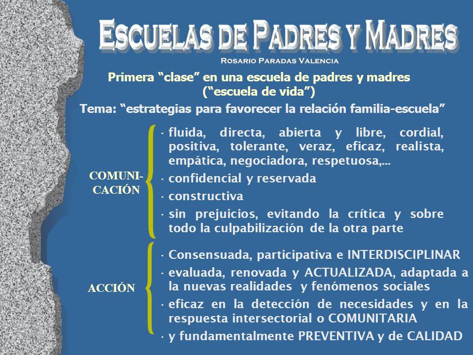 Primera clase en una escuela de padres y madres (escuela de vida) Tema: estrategias para favorecer la relación familia-escuela COMUNI- CACIÓN Consensu