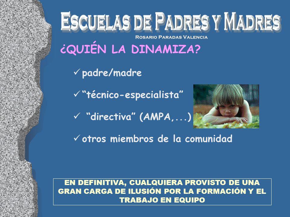 padre/madre técnico-especialista directiva (AMPA,...) otros miembros de la comunidad EN DEFINITIVA, CUALQUIERA PROVISTO DE UNA GRAN CARGA DE ILUSIÓN P