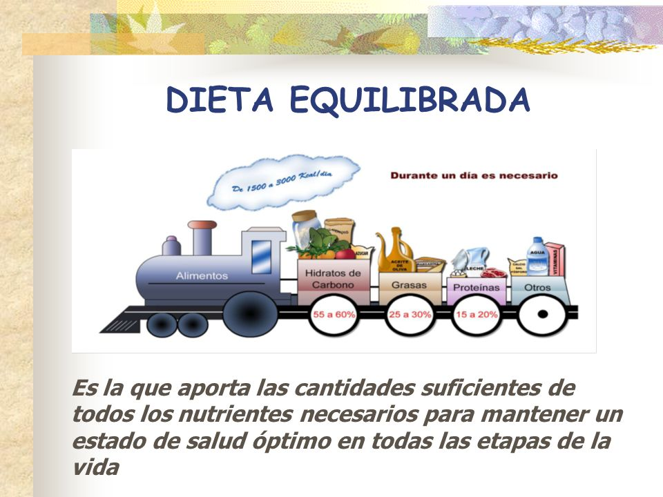 DIETA EQUILIBRADA Es la que aporta las cantidades suficientes de todos los nutrientes necesarios para mantener un estado de salud óptimo en todas las
