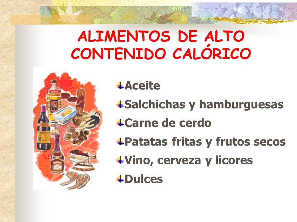 ALIMENTOS DE ALTO CONTENIDO CALÓRICO Aceite Salchichas y hamburguesas Carne de cerdo Patatas fritas y frutos secos Vino, cerveza y licores Dulces