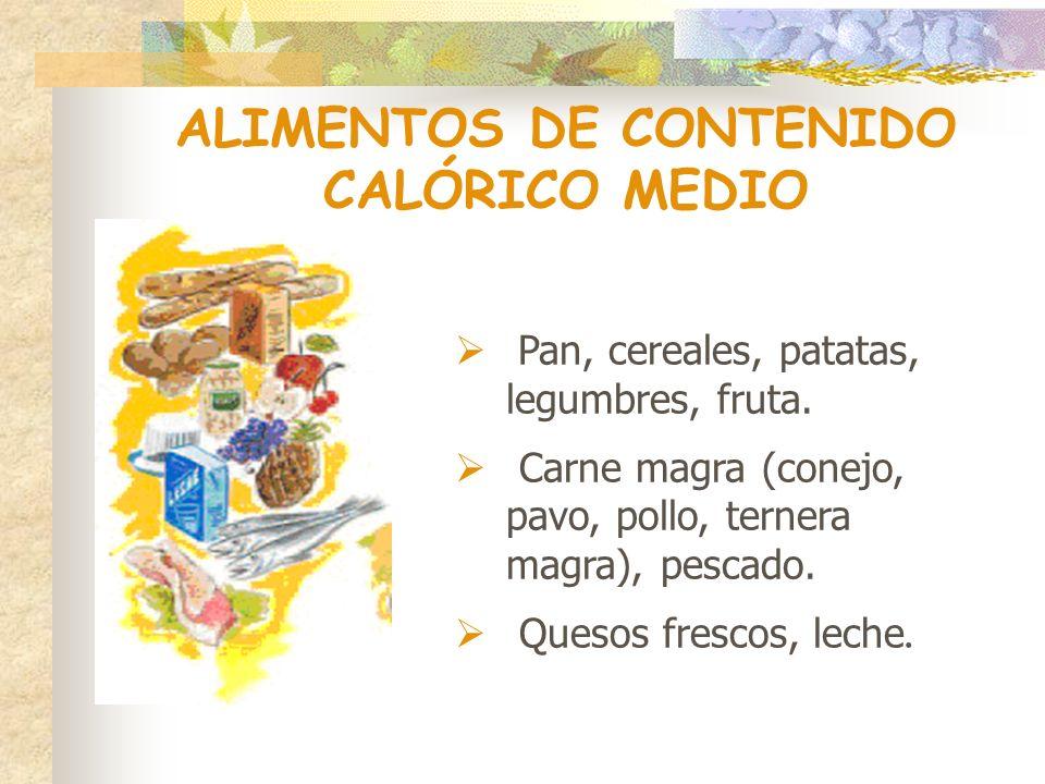 ALIMENTOS DE CONTENIDO CALÓRICO MEDIO Pan, cereales, patatas, legumbres, fruta. Carne magra (conejo, pavo, pollo, ternera magra), pescado. Quesos fres