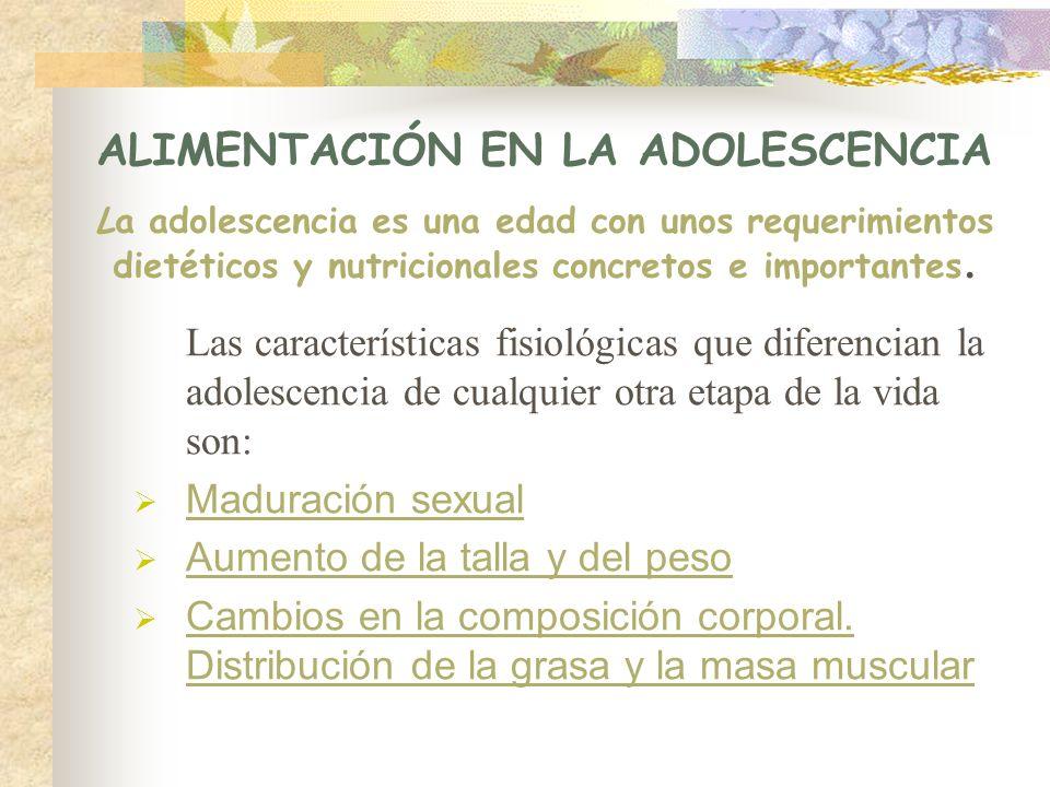 ALIMENTACIÓN EN LA ADOLESCENCIA La adolescencia es una edad con unos requerimientos dietéticos y nutricionales concretos e importantes. Las caracterís