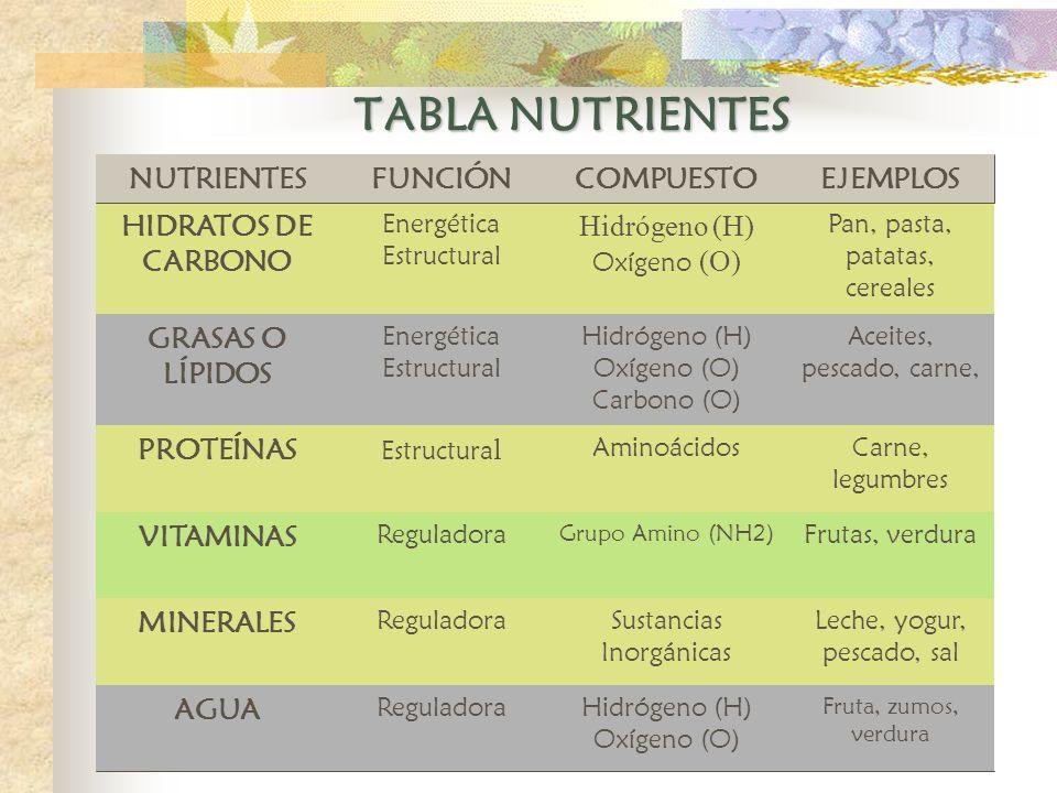 TABLA NUTRIENTES Fruta, zumos, verdura Hidrógeno (H) Oxígeno (O) Reguladora AGUA Leche, yogur, pescado, sal Sustancias Inorgánicas Reguladora MINERALE
