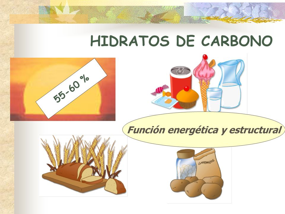 HIDRATOS DE CARBONO 55-60 % Función energética y estructural