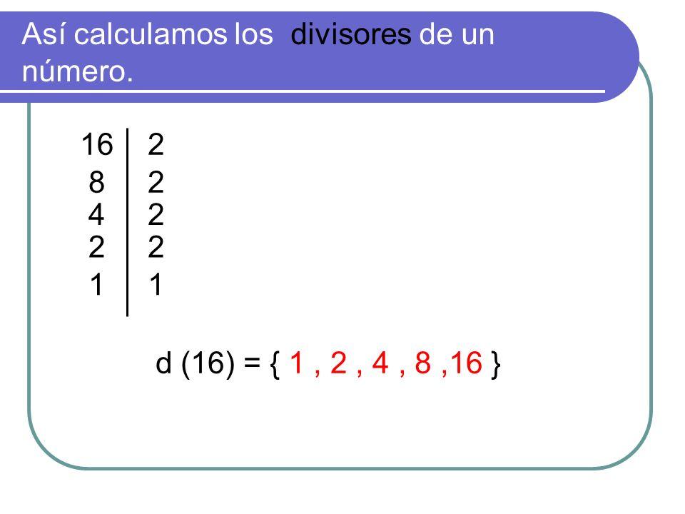 Así calculamos los divisores de un número. d (16) = { 1, 2, 4, 8,16 } 82 42 22 11 216